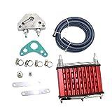 DDyna Enfriador de Aceite, radiador de enfriamiento del Enfriador de Aceite para 50Cc 70Cc 90Cc 110Cc 125Cc Motores horizontales Dirt Bike/Pit Bike/Monkey Bike (Rojo)