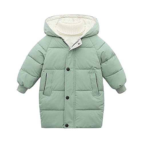 Unisex Girls' Boys' Middle Length Winter Coat Hooded Puffer Jacket Padded Warm Tops Pea Green-130