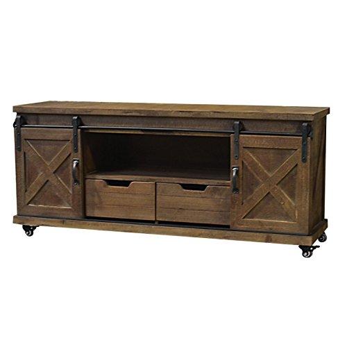 Chemin_de_Landhaus TV-kast op wieltjes, voor woonkamer, laden van hout en ijzer, schuifdeuren, 140 cm