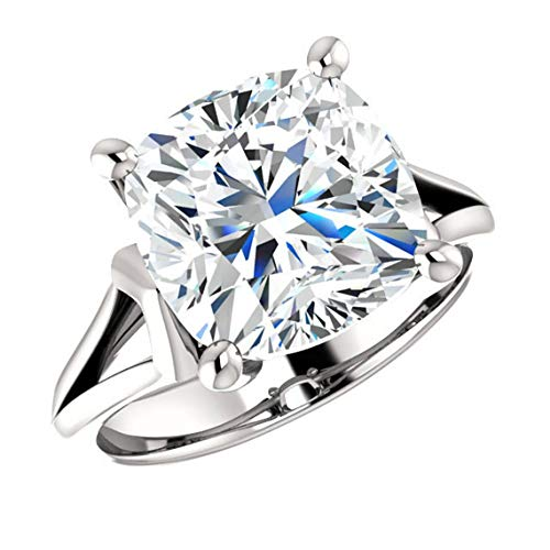Gopi Gems Beautiful Ring, Cushion Cut 5.00CT, Colorless Moissanite Diamond, 925 Sterling Silver Ring, Engagement Ring, Wedding Gift, Perfact for Gift, Or As You Want (V)