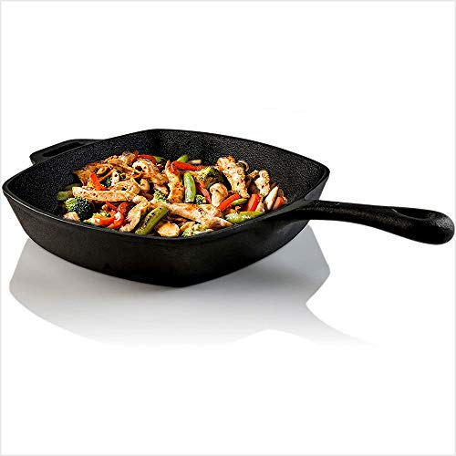 Ovente Square Cast Iron Grill Pan 10 Inch with Pre-Seasoned Non Stick Griddle and Grip Handle, Easy Clean Stovetop Cookware for Grilling Frying and Saute, Perfect for Meat Bacon, Black CWC2307001B