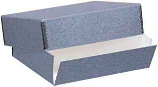 Lineco Museum Archival Drop-Front Storage Box, Acid-Free with Metal Edges, 8.5 X 10.5 X 3 inches, Gray (733-0008)