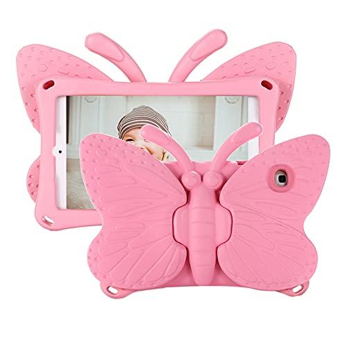 Tading Funda para niños para Samsung Galaxy Tab A 10.1 2019 T510/T515, funda protectora ultra ligera y resistente a los golpes, con función atril, diseño de mariposa, color rosa