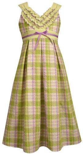 Bonnie Jean Big Girls' Sleeveless Lavender/Green Seersucker Plaid Dress With Ruffle Bodice,Lavender,10