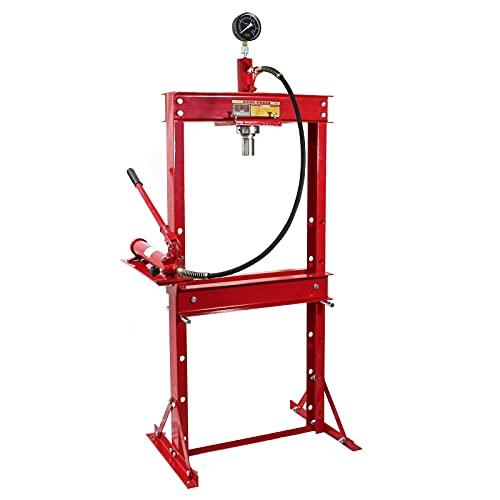 WilTec Presse hydraulique d'Atelier Réglable avec Une capacité de 12 Tonnes et Manomètre