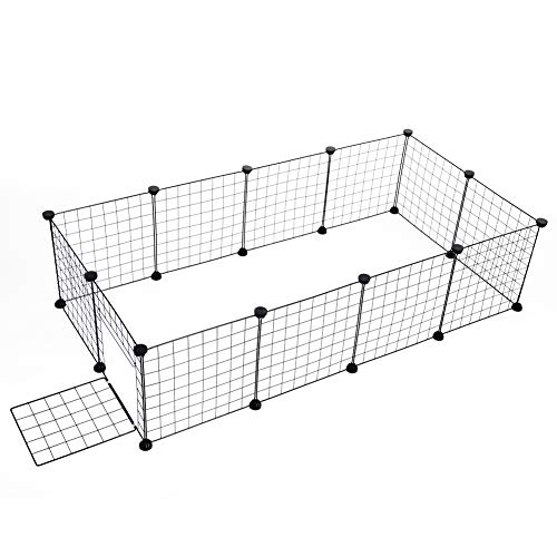 Ejoyous Pet Playpen for Small Animals, Portable DIY Durable Puppy Kennel Metal Grid Cage with Door and Cable Tie, Easy to Assemble, Indoor Outdoor Exercise Pet Play Yard for Guinea (12 Panel)