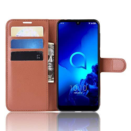 DAMAIJIA für Alcatel 3L 2019 Hüllen Klapphülle PU Leder Silikon Wallet Schutzhülle Schutz Mobiltelefon Flip Back Cover für Alcatel3L 2019 5039D Tasche Handy Zubehör (Brown)