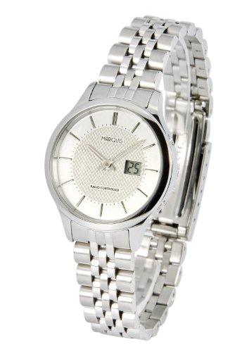 Elegante MARQUIS Damen Funkuhr (Junghans-Uhrwerk) Gehäuse und Armband aus Edelstahl 964.4825