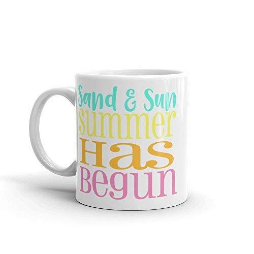 Queen54ferna Taza de verano con diseño de arena y sol, taza de verano, taza de playa, regalo de playa, regalo de verano, cumpleaños, fiesta de verano, amante del verano, taza de café, 11 onzas