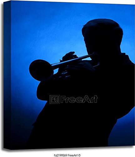 Trumpet Player Silhouette Against Blue Spot Light Gallery Wrapped Canvas Art (24in. x 20in.)