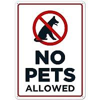 ペット禁止金属錫看板犬猫禁止看板錆びない屋内屋外使用ホームキッチン吊り下げアートワークプラークウォールアート装飾屋外公共ヤード看板8インチX12インチ(20cm X 30cm) メタルプレートブリキ 看板 2枚セットアンティークレトロ