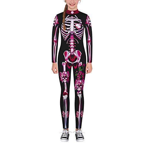 Gaga city Disfraz de Esqueleto Niño Niña Mono Cosplay Trajes de Halloween de Fiesta Disfraces de Carnaval Navidad para 125-165CM