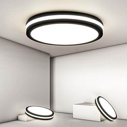 Lámpara LED de techo redonda, IP54, resistente al agua, lámpara de baño, 18 W, 1800 lm, lámpara de techo de 4000 K, para cuarto de baño, habitación de los niños, dormitorio, cocina, salón, oficina