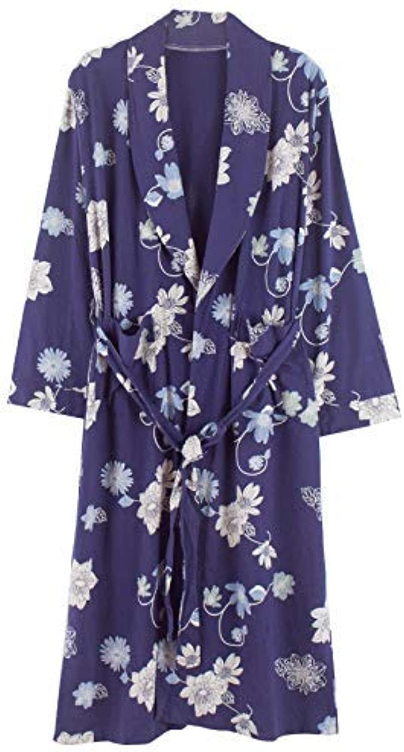 DALAI Spring and Autumn Women's LongSleeved Robe Cotton Pajamas Combed Cotton Bathrobe Bathrobe Women's Home Service (color   bluee, Size   L) (color   bluee, Size   Large)