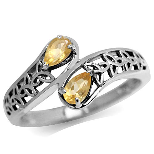 Silvershake Natural Citrine 925 Sterling Silver Filigree Triquetra Celtic Knot Bypass Ring Size 6.5