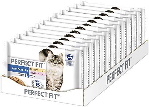Perfect Fit Indoor 1+ – Nassfutter für erwachsene Hauskatzen ab 1 Jahr – Auswahl in Sauce – Unterstützt die Vitalität – 52 x 85 g