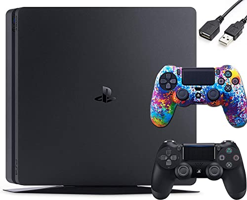 Playstation 4 PS4 Slim 1TB Gaming Console : FHD High Dynamic Range (HDR) Parental Control Capability Blu-Ray WiFi Bluetooth HDMI Black + One Controller Skin and USB Extension