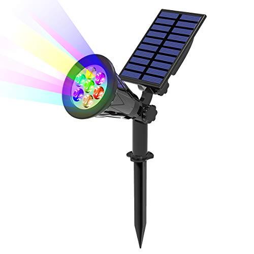T-SUN 7LED Foco Solar, Impermeable Luces Solares Exterior de 7 Color Cambio, Luz de Jardín, Seguridad Luz y Luz de Proyecto Solar para Paisaje, Entrada, Patio, Garaje, Muro, Camino.