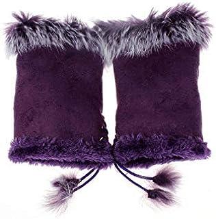 [hfeweng] 女性の女の子&フェイクウサギ毛手首指のない手の冬の手袋暖かい 誕生日のギフト&屋外 - 黒金曜日&サイバー月曜日(革)