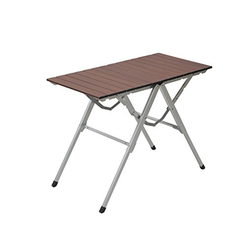 山善 キャンパーズコレクション スタイルワンアクションテーブル(幅81奥行40) ウッドプリント OAT-8040(WP)