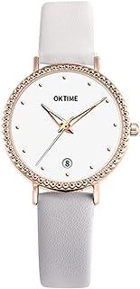 Fashion Simple Women Quartz Watch Student Calendar Alloy Case PU Band Wrist Watch