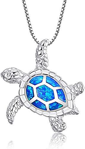 AoJuy [Health Longevity] S925 Sterling Silver Created Blue Opal Sea Turtle Pendant Necklace Ring 18', for Women Mom Girlfriend(Blue)