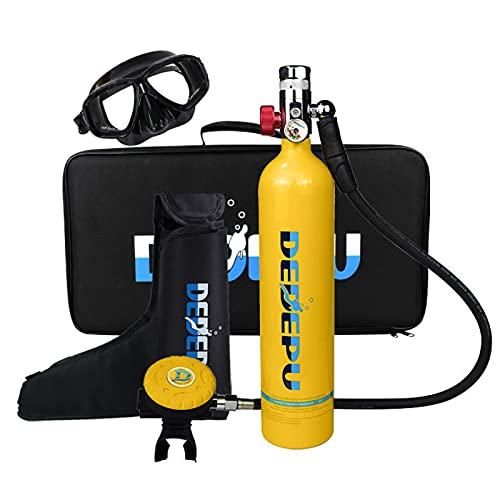 CGGDP Buceo De Oxígeno del Tanque, 1L Equipo De Oxígeno para Bucear Bombona Oxigeno Portatil con Capacidad de 15-20 Minutos, Scuba Tanque de oxígeno para Rescate acuático/Turismo de Buceo,Amarillo