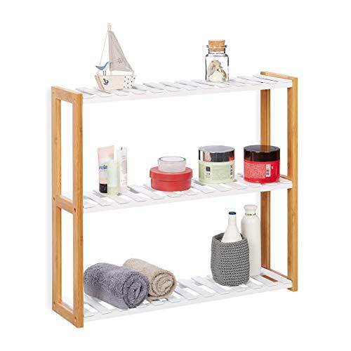 Relaxdays Estantería de Pared con Tres estantes, Mueble de almacenaje, Bambú, MDF, 54x60x15 cm, Blanco