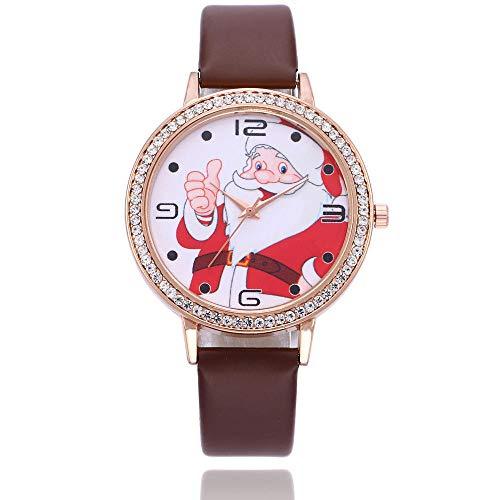 Montre Mesdames Montre Bracelet Cadeau Cadeau De Noël Montre Père Noël Enfants Montre Poignet Décoration Montre-Marron