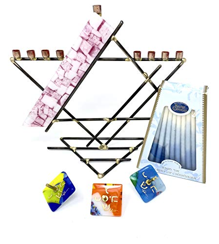 Gary Rosenthal Breast Cancer Awareness Pink Star Menorah with 3 Fused Glass Dreidels top and a Box of Hanukkah Candles Set from Israel