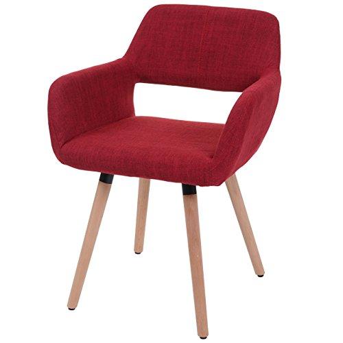 Chaise de Salle à Manger HWC-A50 II, Fauteuil, Design rétro des années 50 - Tissu, Rouge Pourpre