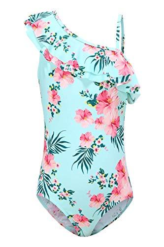Moon Tree Mädchen Einteiliger Meerjungfrau Badeanzug Rüschen Hawaiian Badeanzug Strand Blumen Jahre 11-12 Alt/164