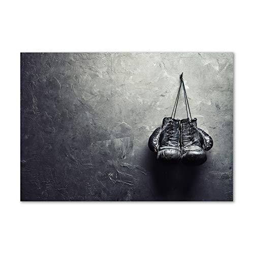 Tulup Impresión en Vidrio - 100x70cm - Cuadro Pintura en Vidrio - Cuadro en Vidrio Cristal Impresiones - Deporte - En Blanco y Negro - Guantes de Boxeo