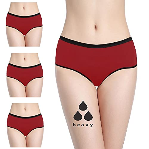 NoBlood Bragas Menstruales absorbentes (Red-Mohina-Pack, XXL)