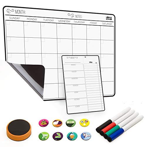 "Magnetic Calendar for Refrigerator Weekly & Monthly schedule Fridge Whiteboard - Magnet Dry Erase Calendar Board (17""x12"") | BONUS: To Do List Refrigerator Organizer, 4 Markers, Eraser, 8 Icons"
