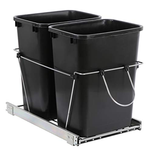 Double 35-Quart Sliding Pull Out Waste Bin Container, Kitchen Trash Can Under Cabinet Trash for Home Base Kitchen Cabinet