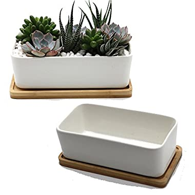 Purzest Ceramic Plant Container with Bamboo Saucer / Succulent Planter Pot, White,Set of 2