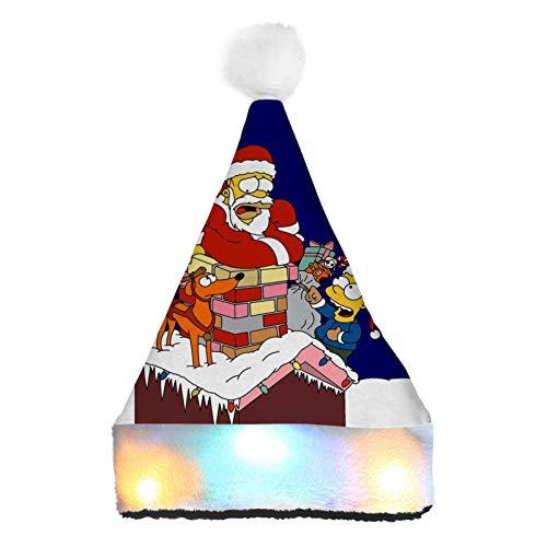 WeiTao Si-mpsons - Sombreros de Navidad con luces LED de color para disfraz de Navidad para nios y adultos