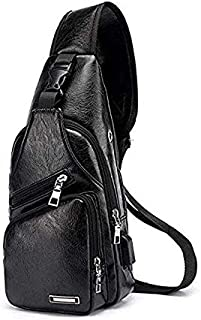 Leather Sling Backpack Waterproof Lightweight Chest Pack with USB Charging Port Shoulder Backpack Crossbody Bag for Men Women Outdoor Hiking Cycling and Travel,Black