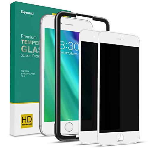 Deyooxi Cristal Templado Privacidad para iPhone 7 Plus/iPhone 8 Plus, 2 Unidades 3D Completa de Cobertura Total Pantalla Protectora Antiespias,Anti Espía Vidrio Templado protector,Blanco