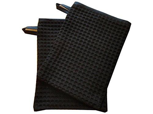 Lot de 2 gants de toilette nid d'abeille noir