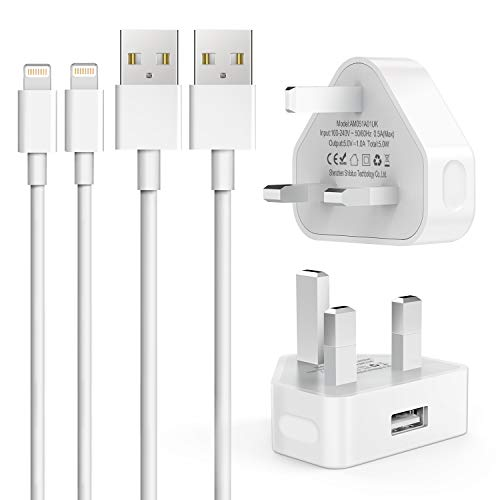 Everdigi 3 Pin Phone Charger Plug and MFi Certified 1M USB Cable for iPhone or iPad 5V White Travel Chargers [2-Pack]