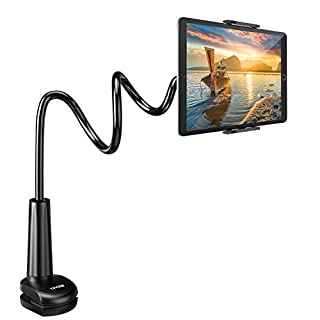 """Gooseneck Tablet Holder Stand for Bed: Tryone Adjustable Flexible Arm Tablets Mount Clamp on Table Compatible with iPad Air Mini 