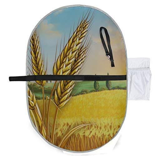 Paysage rural montrant le champ de blé sur la maison de table à langer portable Tapis de couche-culotte 27x10 pouces imperméable à l'eau Pliable Mat Baby Station de change à langer Portable Matelas à