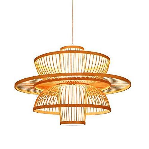 Creativa lámpara colgante Tropical Bamboo Candelabro hecho a mano Ratán Lámpara de techo para restaurante o salón