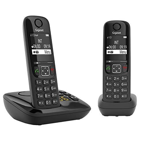 Gigaset AS690A Duo - 2 Schnurlose Telefone mit Anrufbeantworter - großes, kontrastreiches Display - brillante Audioqualität - einstellbare Klangprofile - Freisprechfunktion - Anrufschutz, schwarz