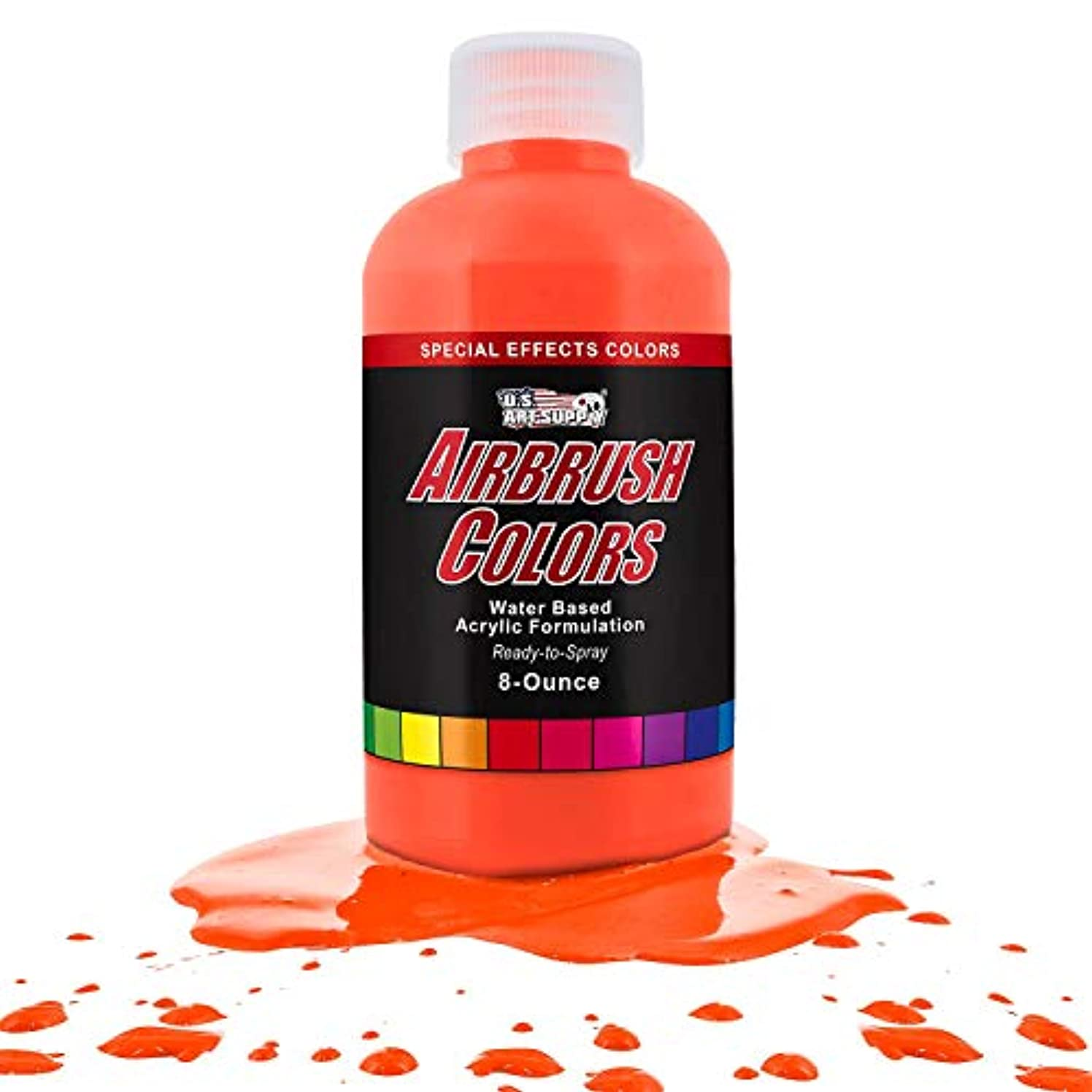 US Art Supply Neon Orange Fluorescent Special Effects Acrylic Airbrush Paint 8 oz.