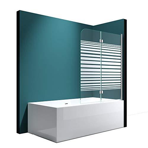 Mai&Mai Faltwand Badewanne 120x140 cm Badewannenaufsatz Duschwand 180° ESG Teilsatiniert NANO C1408SR