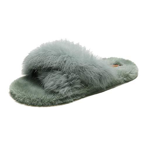 Mujer Peluche Memory Foam Zapatillas De Casa,Zapatillas Calientes Antideslizantes al Aire Libre, Pelusa Cruzada Glad-Green_35,Invierno Impermeables Pantuflas