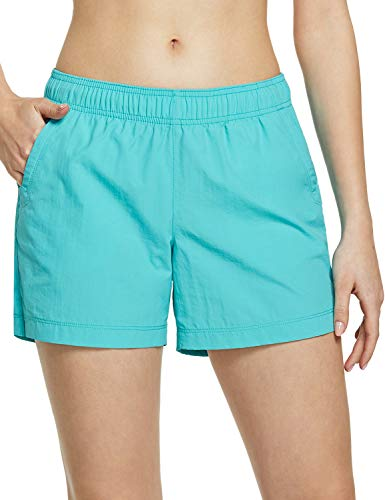 CQR Women's Hiking Shorts, Quick Dry Lightweight Travel Shorts, UPF 50+ UV/SPF Stretch Camping Shorts, Outdoor Apparel, Shorts(wxs200) - Teal, X-Large